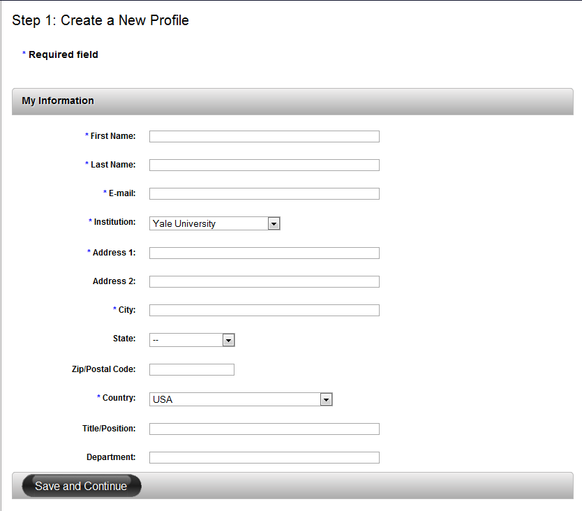 Create Profile Page